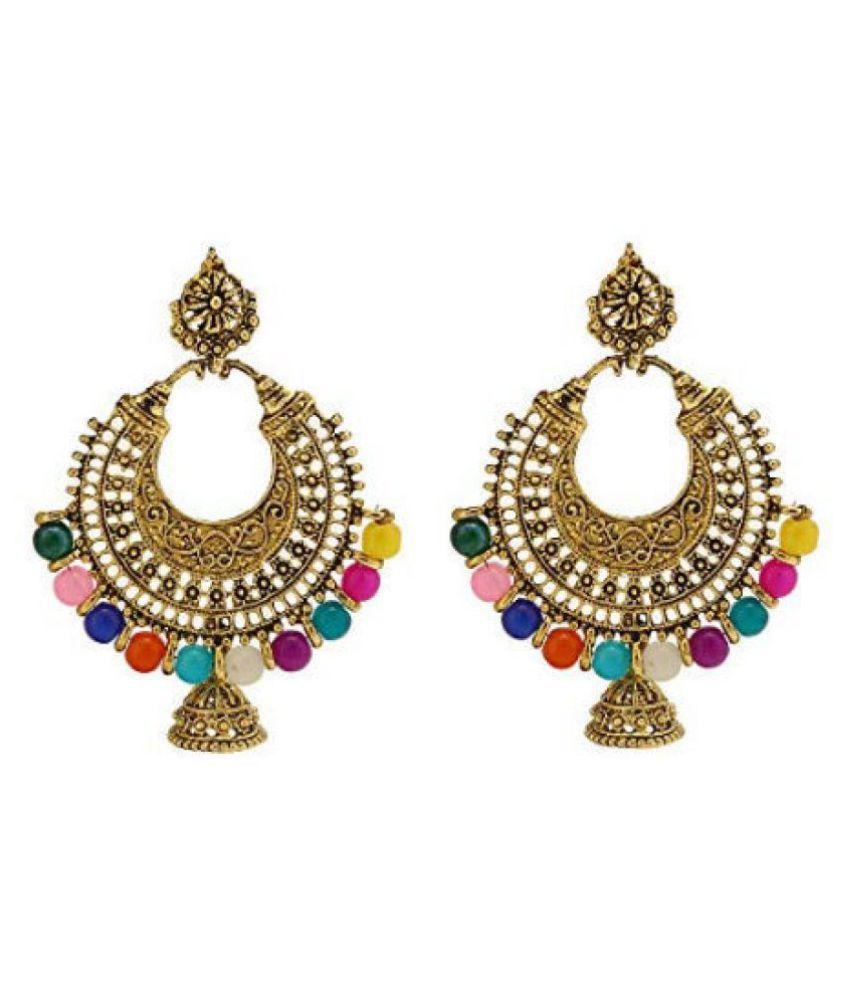 Happy Stoning Oxidised Golden Afghani Chandbali Earrings