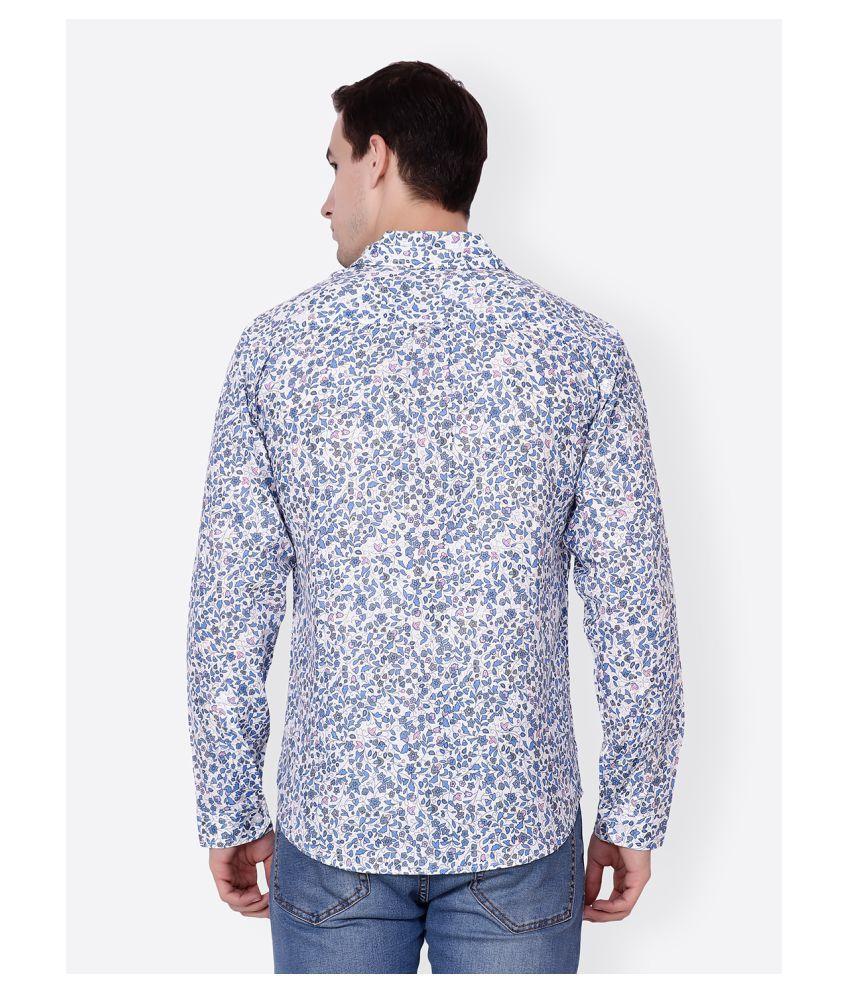 sheero Cotton Blend White Prints Shirt