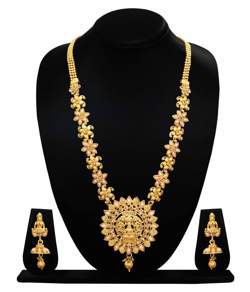 CAJ Brass Golden Collar Traditional 12kt Gold Plated Necklaces Set