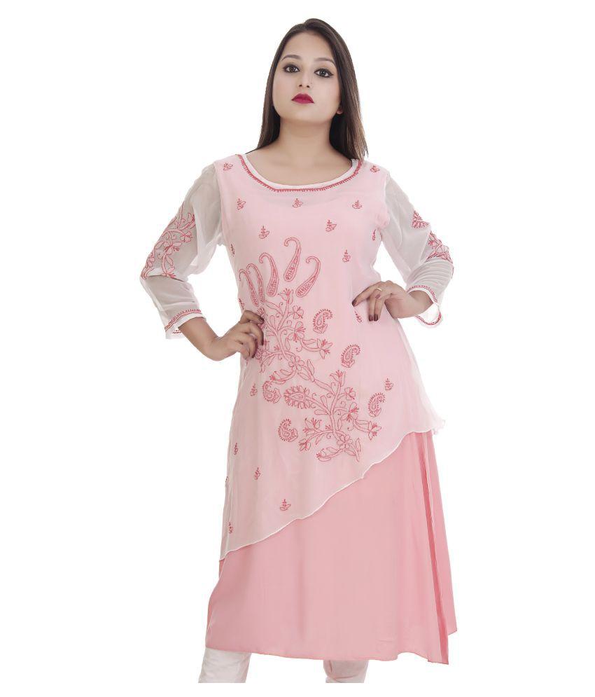 Ethnava Pink Rayon Straight Kurti