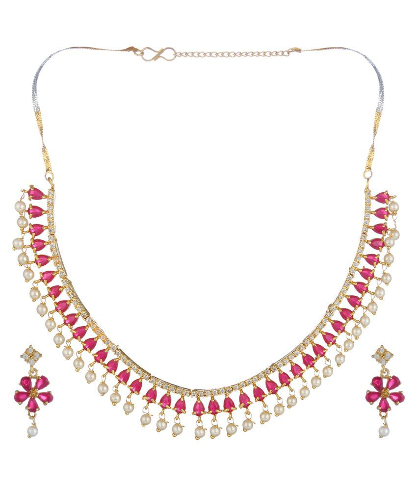 Jewels Gold Alloy Pink Contemporary Contemporary/Fashion Gold Plated Necklaces Set