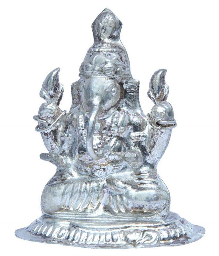 Silver Ganesh Statue,silver Ganesh Idol Energised Silver Shri Silver Ganesha Statue Figurine on Stand Beautiful Silver Ganpati Murti for Home Diwali Pooja(70-80gm) By Pandit NM Shrimali