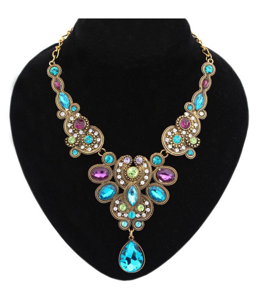 Women Water Drops Pendant Choker Chain Bib Statement Necklace Jewelry (Fashion Jewellery)