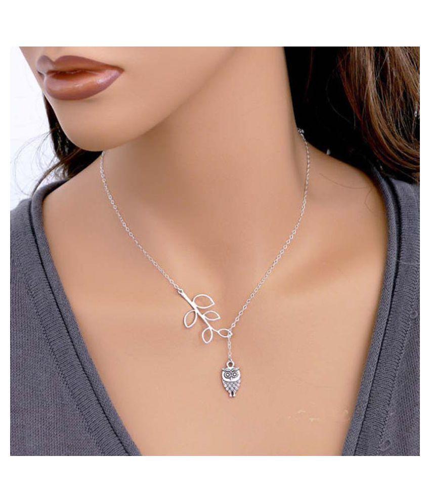 Womens Girls Simple Little Owl Leaves Tassels Chian Alloy Necklace SL (Fashion Jewellery)
