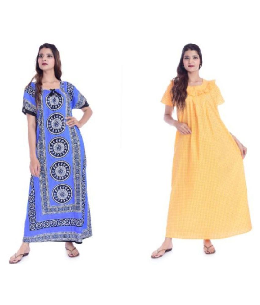 Raj Cotton Nighty & Night Gowns - Blue