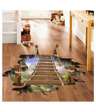 Floor Wall Sticker Remove Vinyl Environmental 3D Suspension Bridge 90*60cm