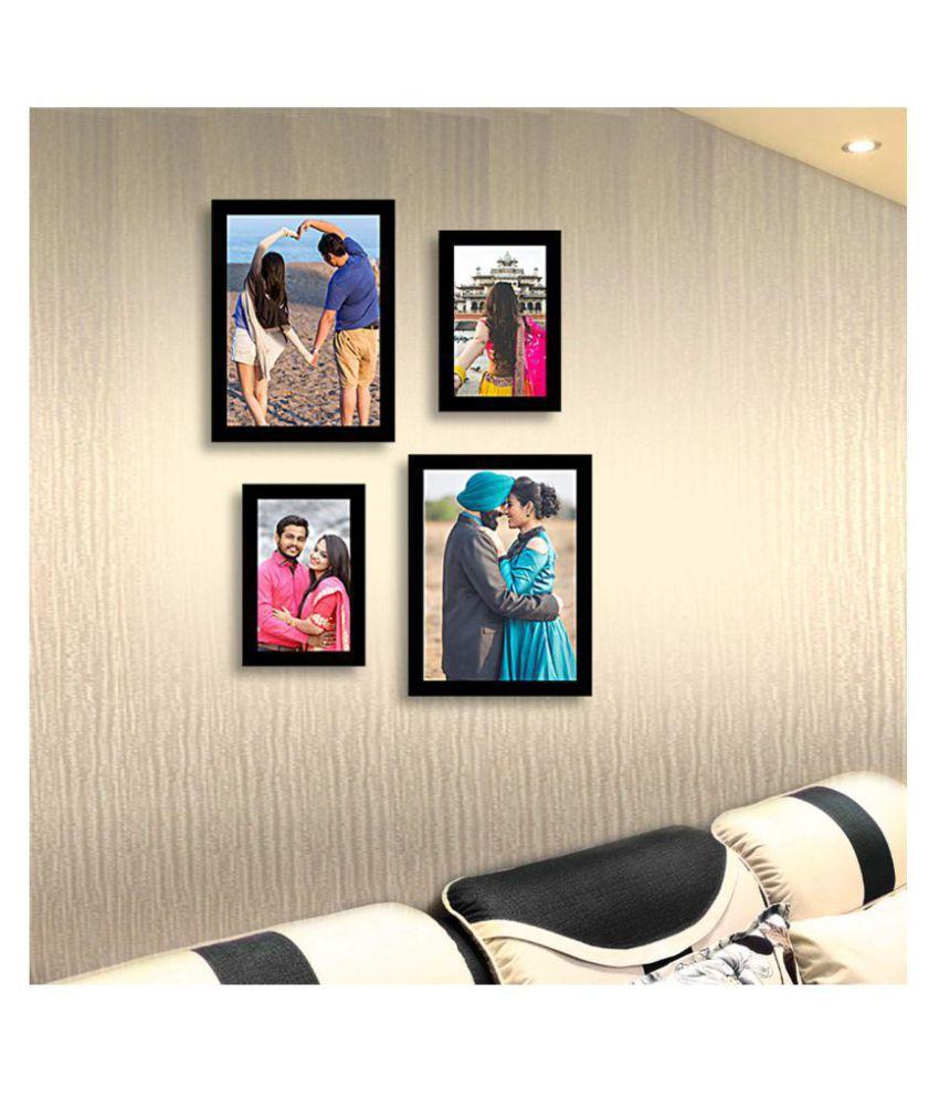 Abhinava Wood Wall Hanging Black Photo Frame Sets - Pack of 4