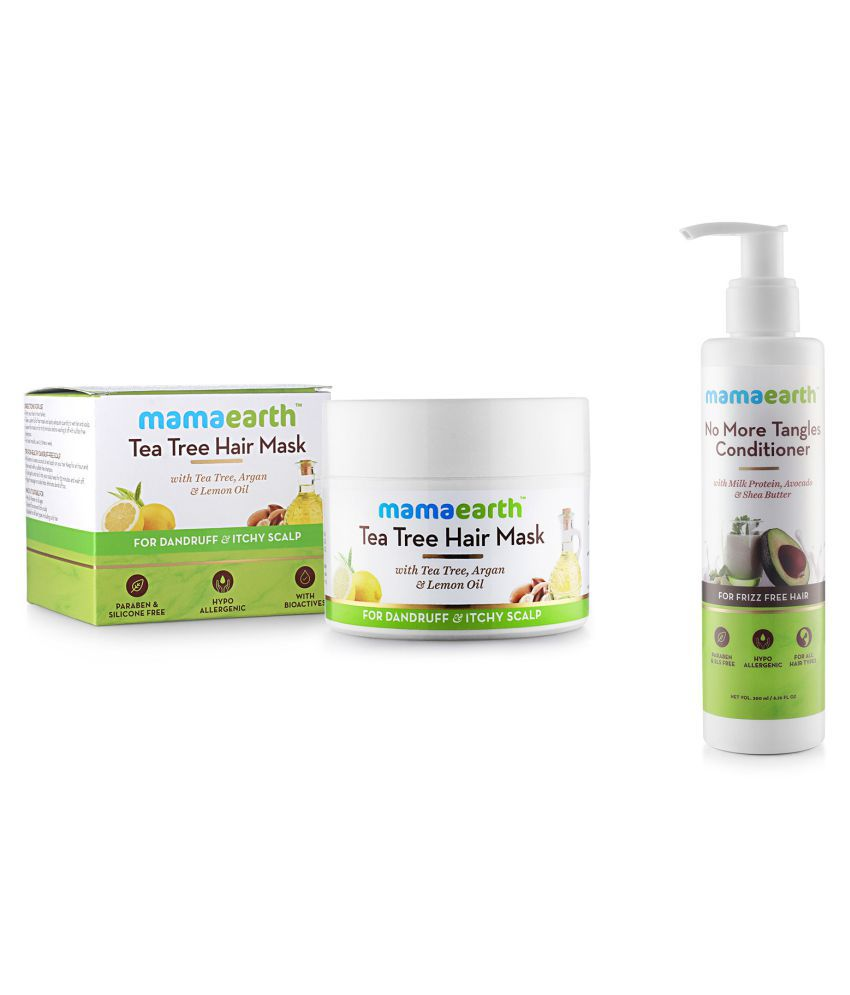 Anti Dandruff Tea Tree Hair Mask with Tea Tree and Lemon Oil For Danrduff Control and Itch Treatement, 200ml and No More Tangles Hair Conditioner 200ml with Milk Protein, Fenugreek, Amla and Tea Tree. No Sulfates, No Silicones