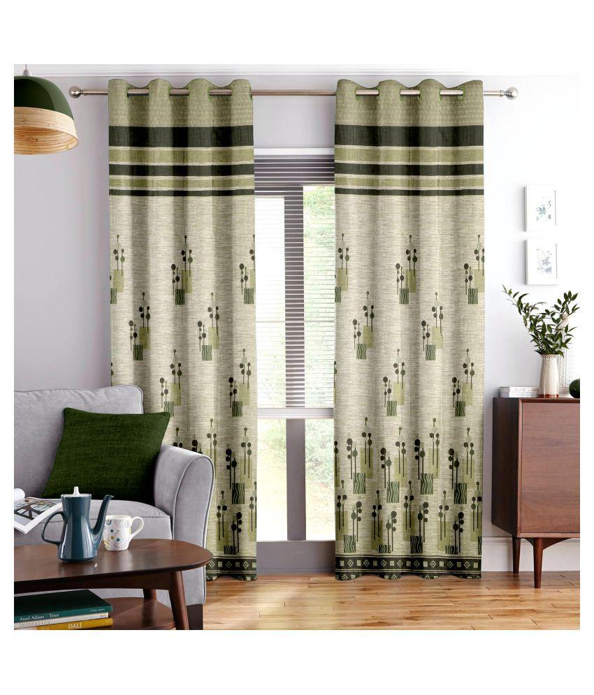 Story@Home Set of 2 Door Blackout Room Darkening Eyelet Jute Curtains Gray