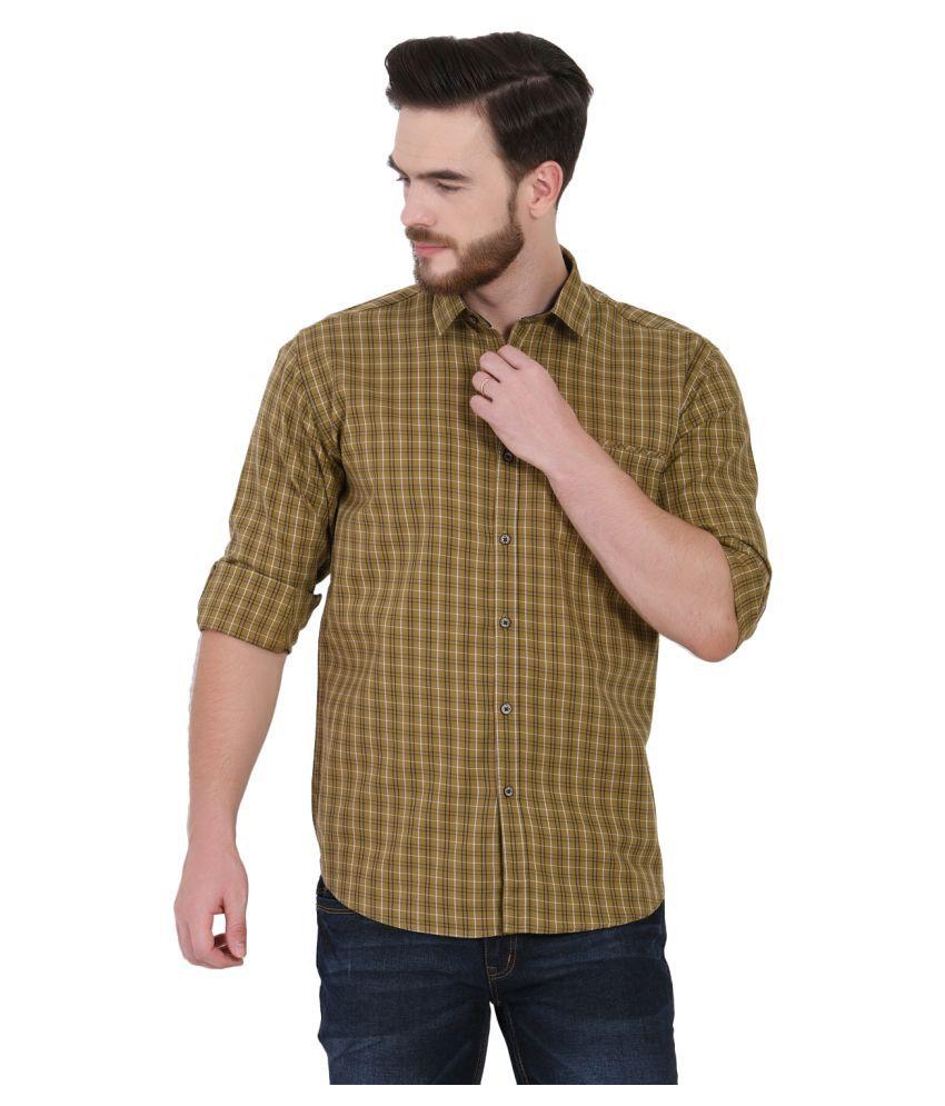 IGNU 100 Percent Cotton Yellow Checks Shirt