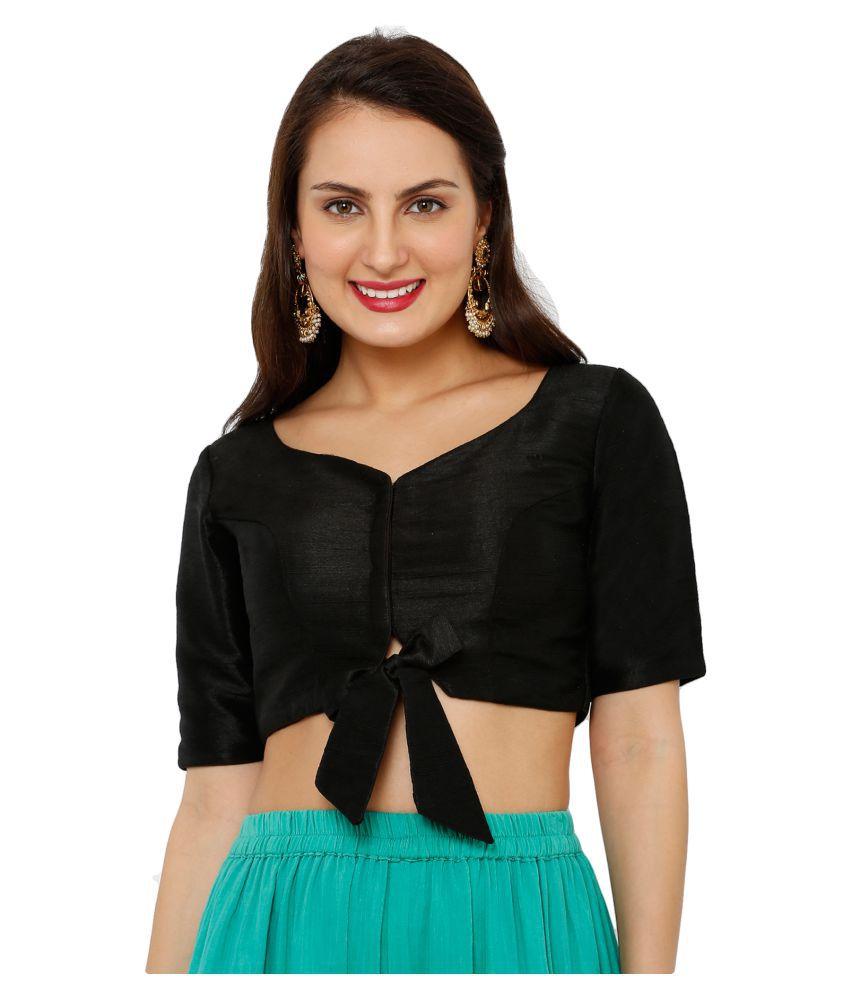 Salwar Studio Black Art Silk Readymade with Pad Blouse