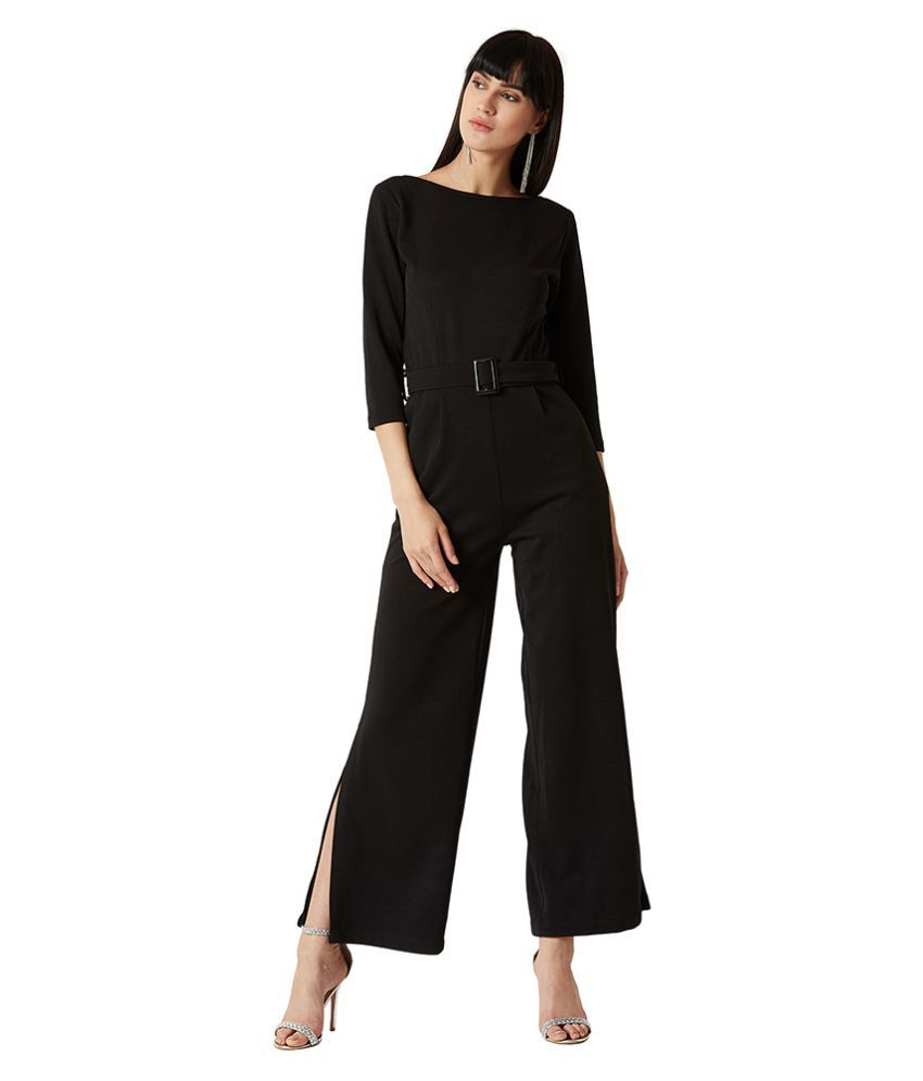 Miss Chase Black Polyester Jumpsuit
