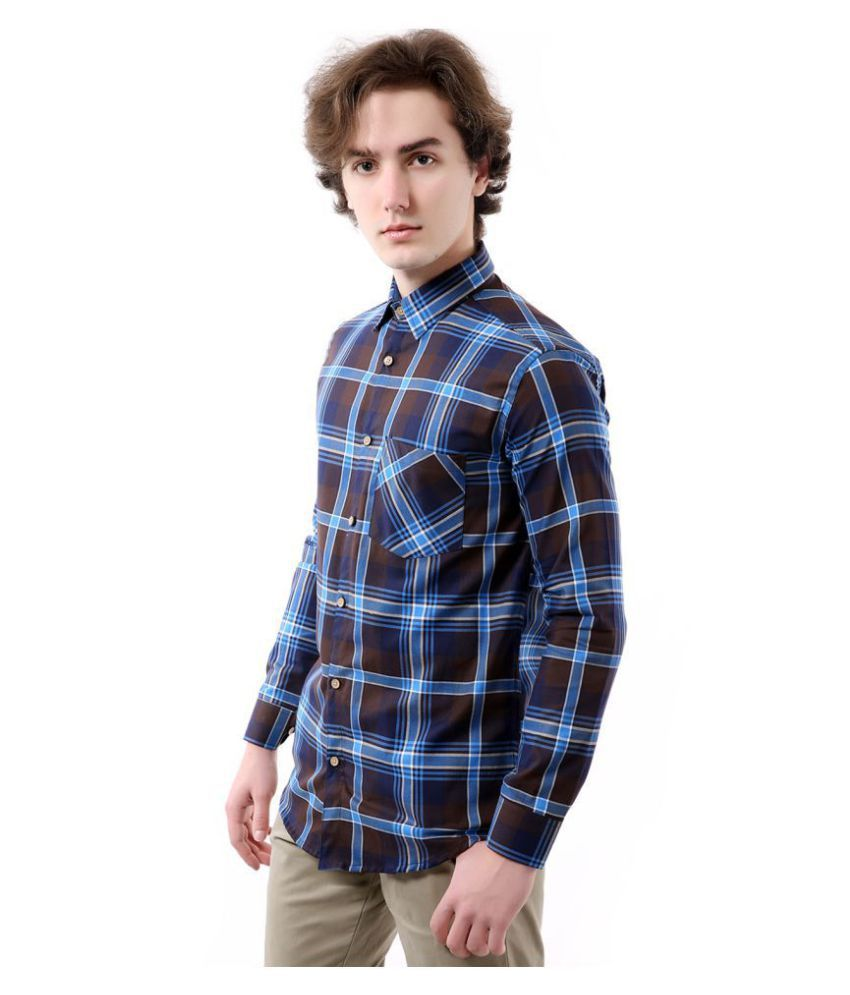 Vida Loca Cotton Blend Blue Checks Shirt