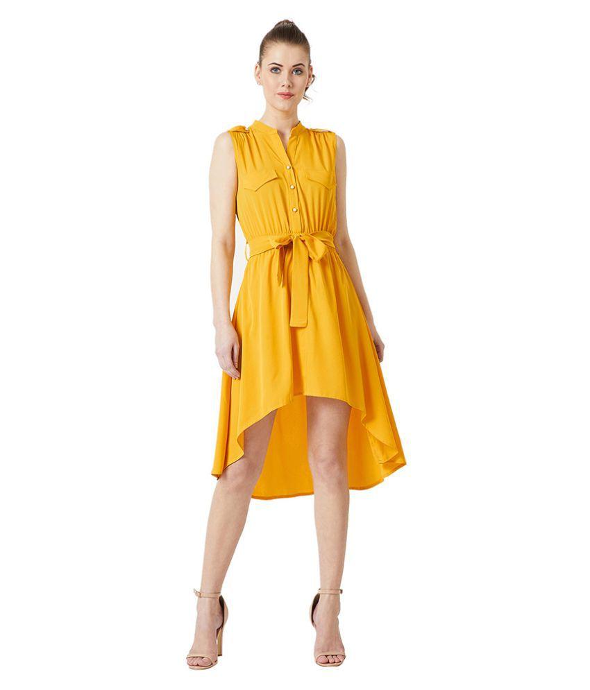 Miss Chase Crepe Yellow Asymmetric dress