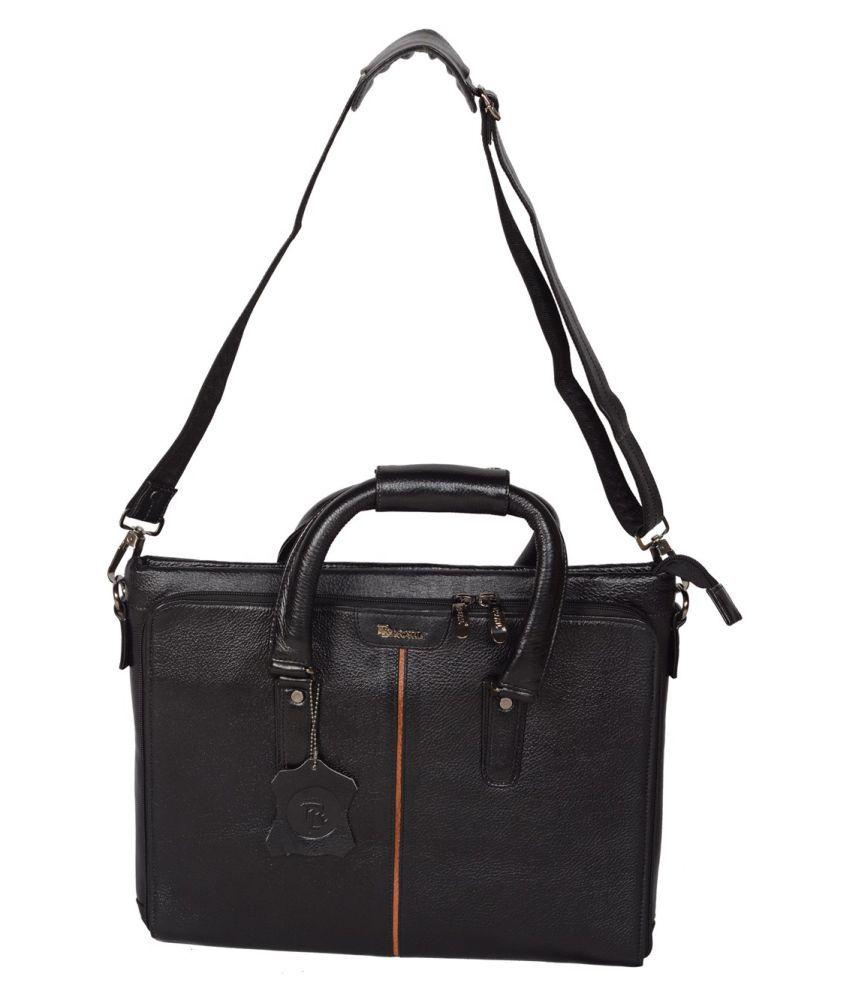 ROYAL LEATHER EMPORIUM Black Leather Office Bag