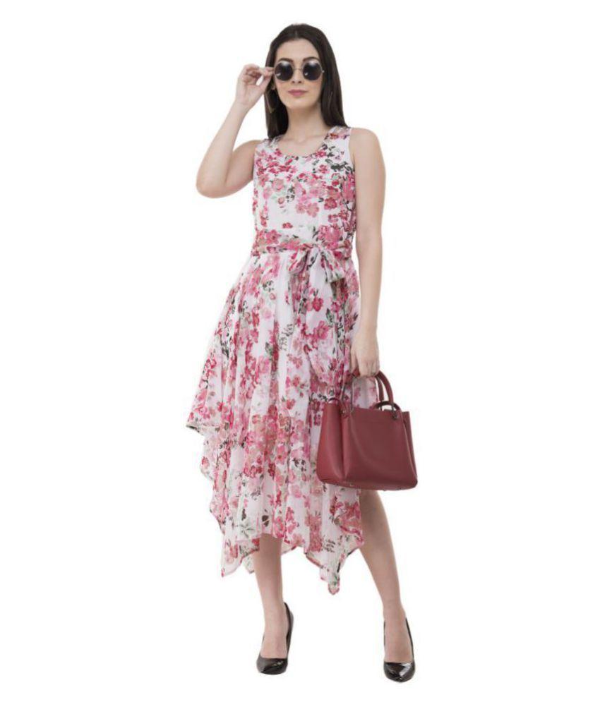 absorbing Georgette White Asymmetric dress