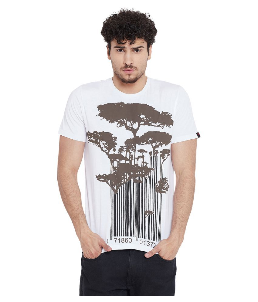le bourgeois 100 Percent Cotton White Printed T-Shirt
