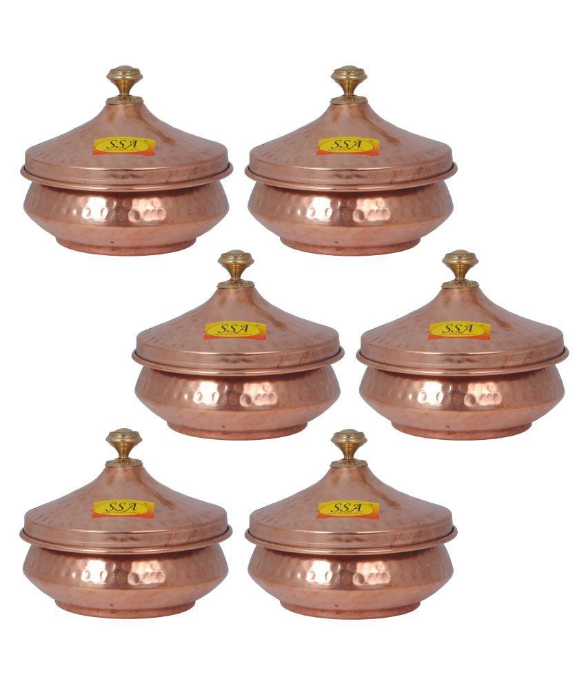 Shiv Shakti Arts Steel Copper Handi 6 Piece Cookware Set