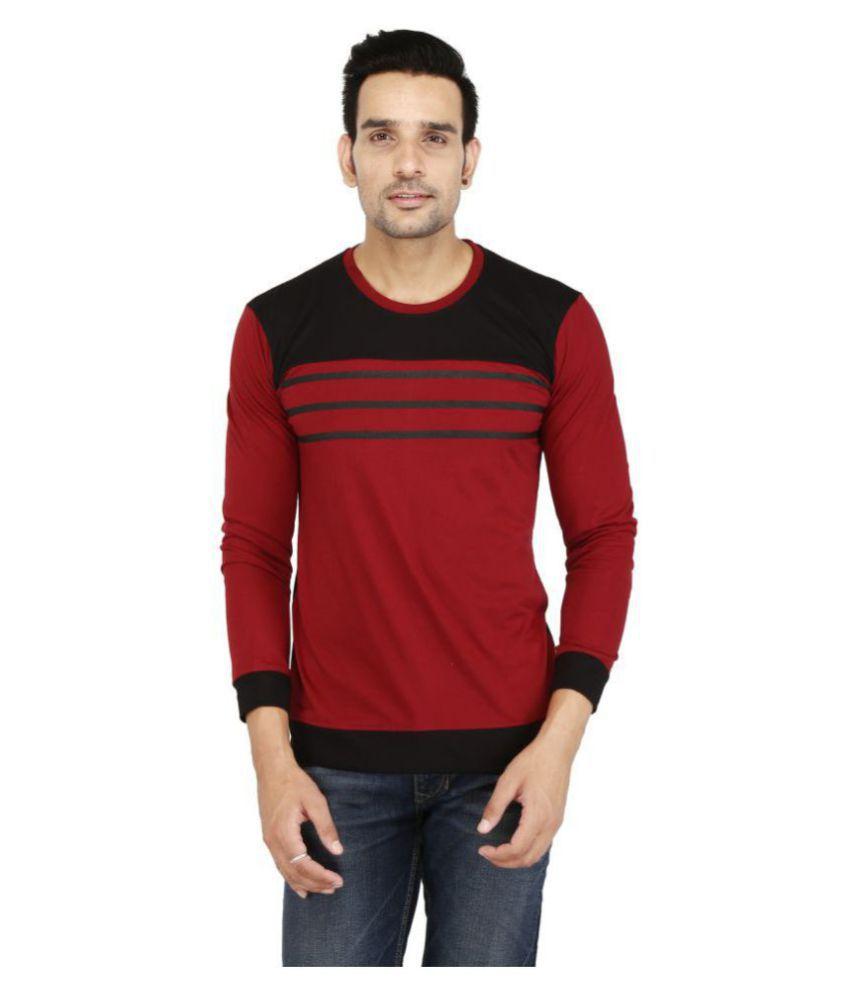 COOL N COMFORT Cotton Blend Black Striper T-Shirt