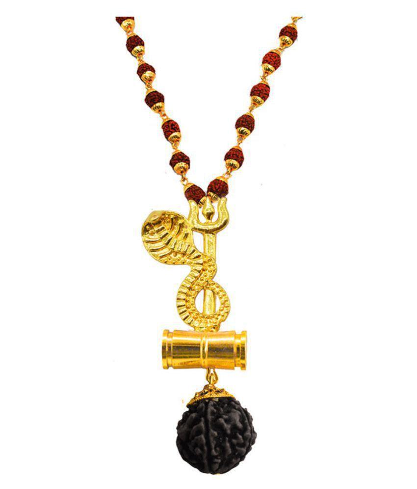 Men Style  Sheshnag Trishula Damaru Locket With Puchmukhi Rudraksha Mala Gold-plated Beads Brass, Wood Pendant Set
