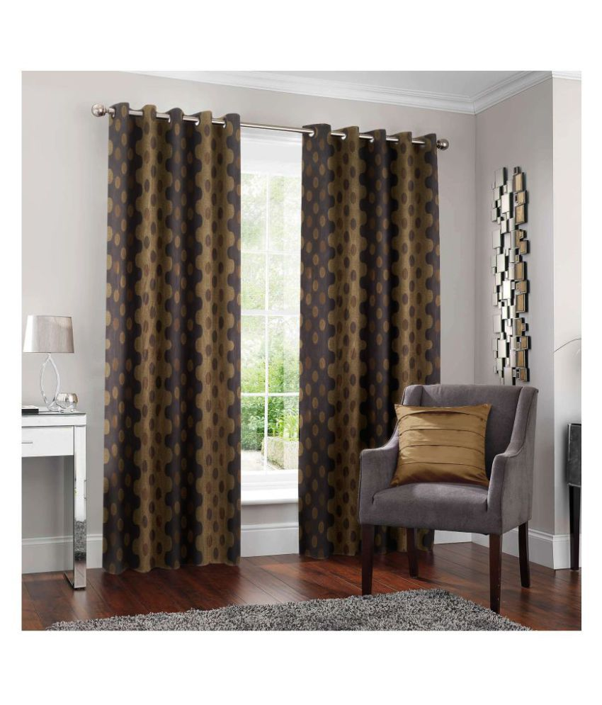 Story@Home Set of 2 Door Semi-Transparent Eyelet Polyester Curtains Gray