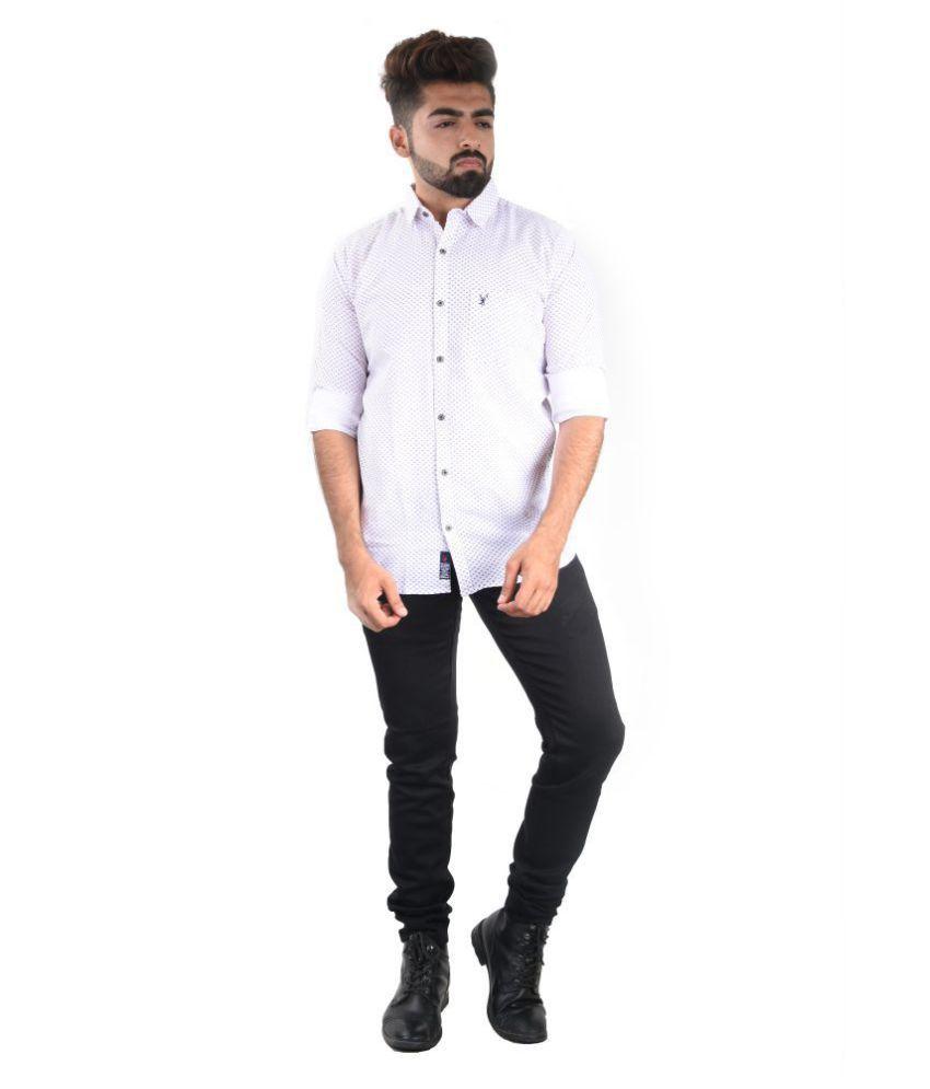 CastleBuck 100 Percent Cotton White Prints Shirt