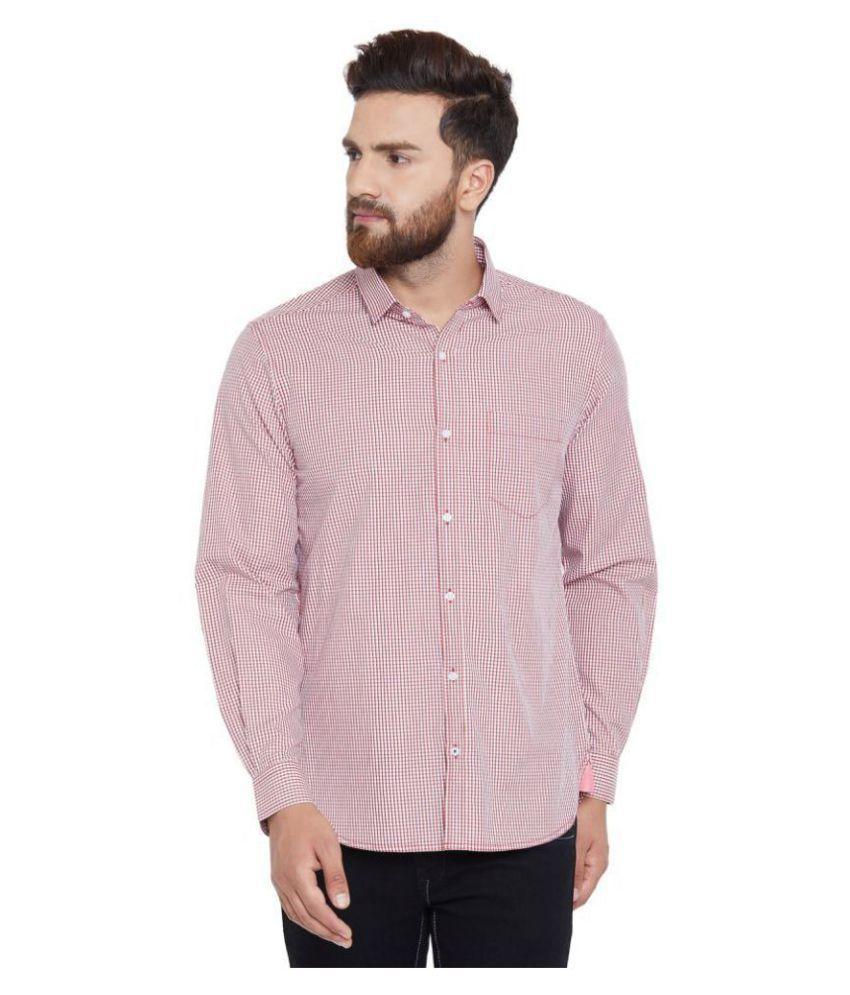 Canary London Cotton Blend Peach Checks Shirt