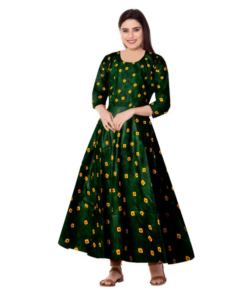 Top Ten Fab Pictures: Trendy Fab Rayon Green Fit And Flare Dress