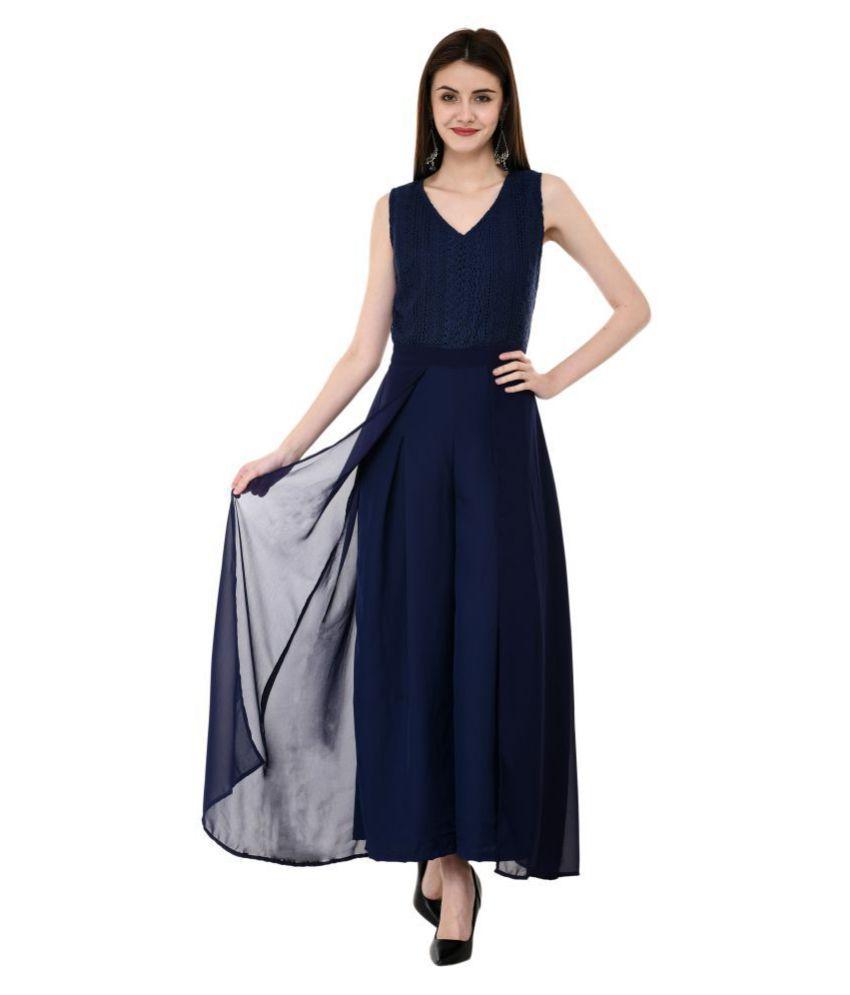 V&M Blue Poly Georgette Jumpsuit