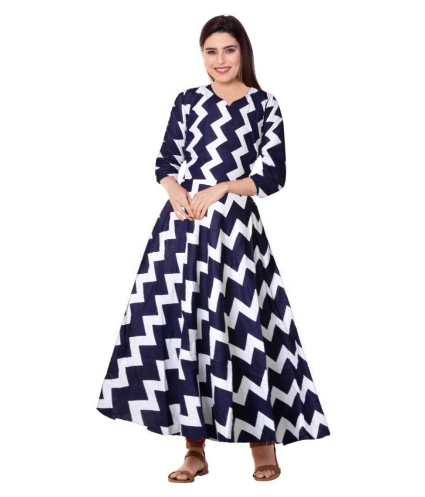 JWF Rayon Blue Fit And Flare Dress