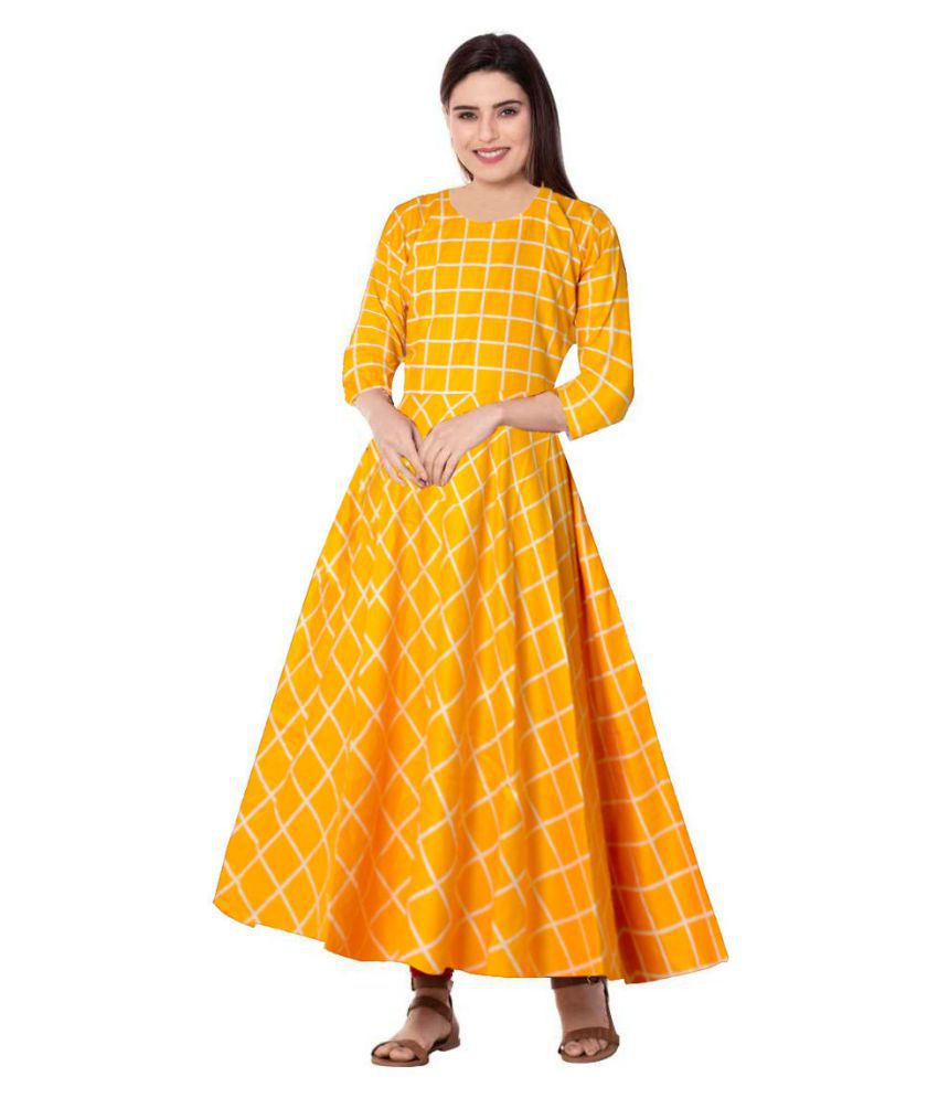 JWF Rayon Yellow Fit And Flare Dress
