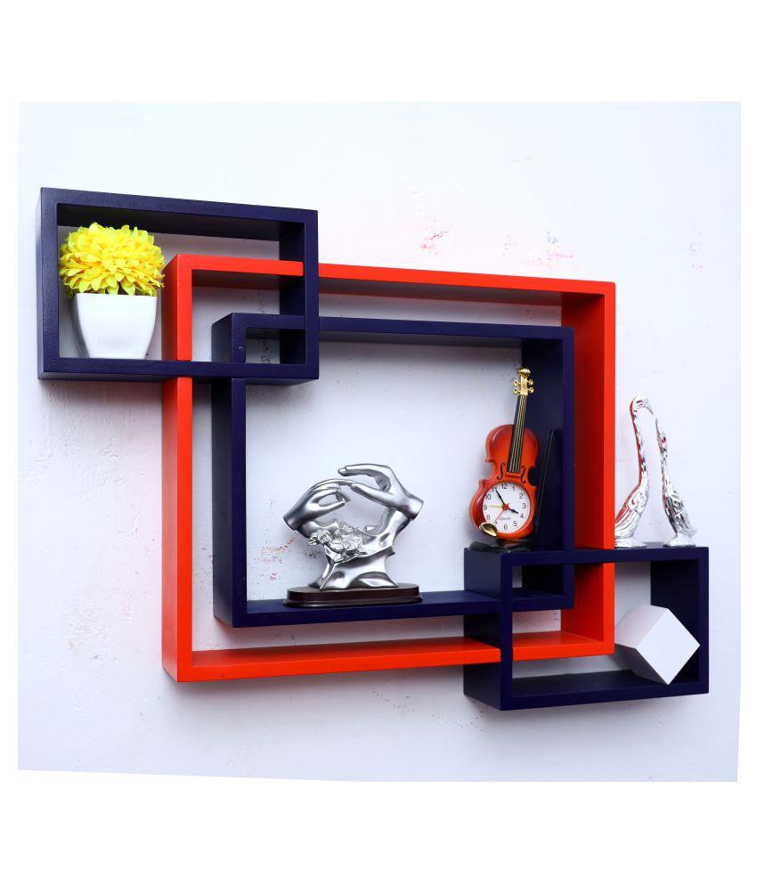 WOOD WORLD mdf wall mount shelf 4  Intersecting shape Wall Shelves Rack – orange-blue