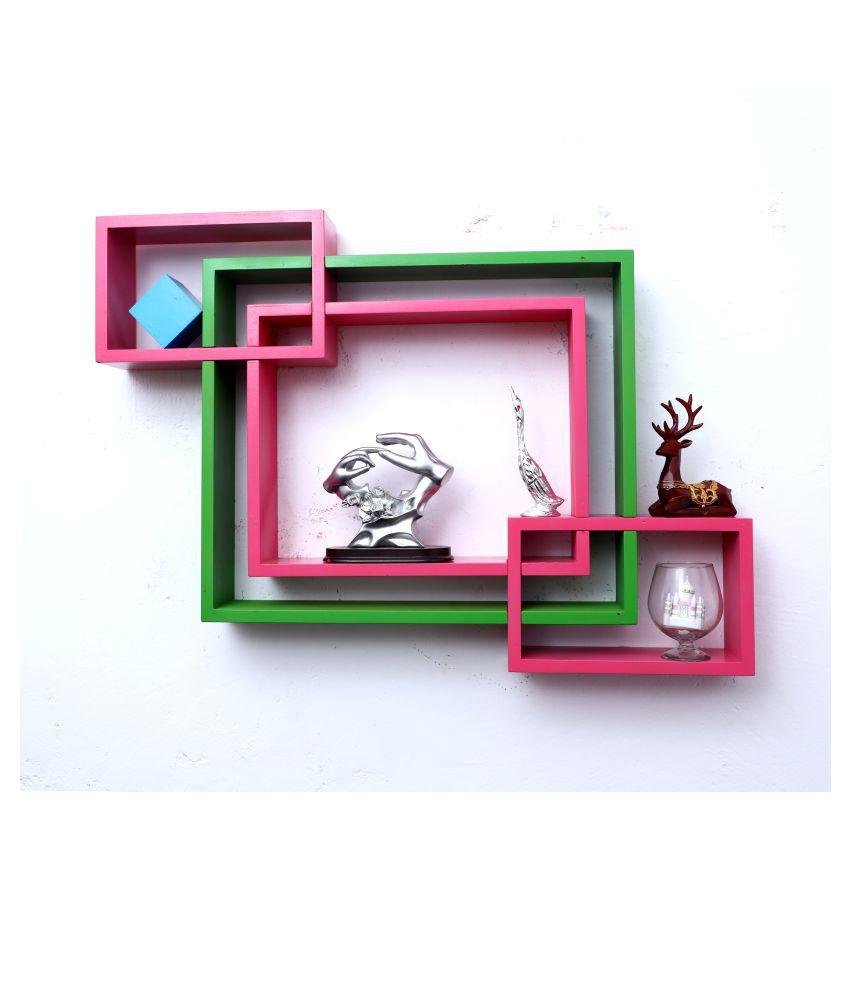 WOOD WORLD mdf wall mount shelf 4  Intersecting shape Wall Shelves Rack – green-pink