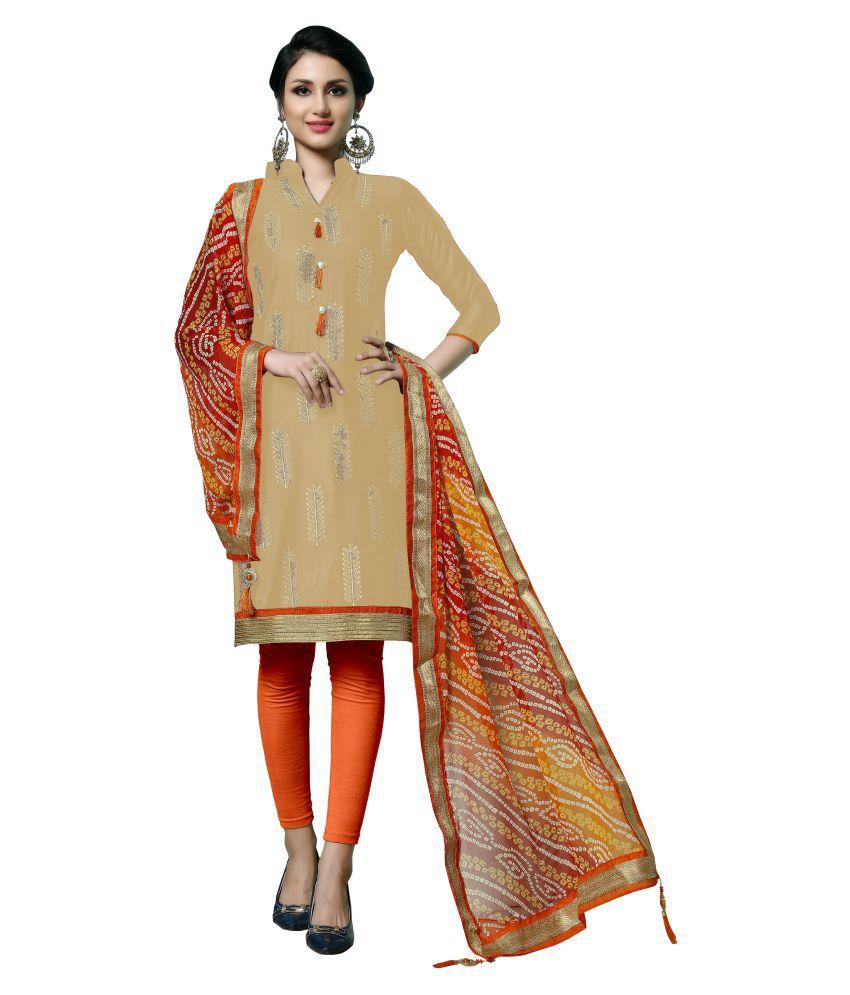Maroosh Beige Cotton A-line Semi-Stitched Suit