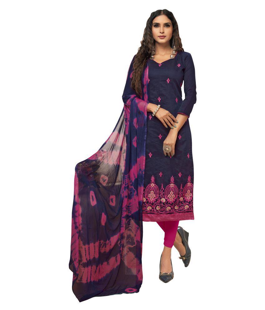 Maroosh Blue Silk A-line Semi-Stitched Suit