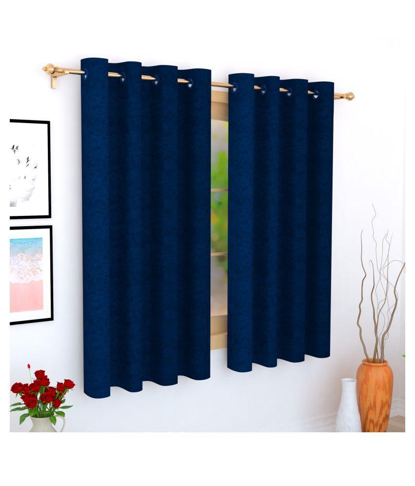 Story@Home Single Window Blackout Room Darkening Eyelet Jute Curtains Blue