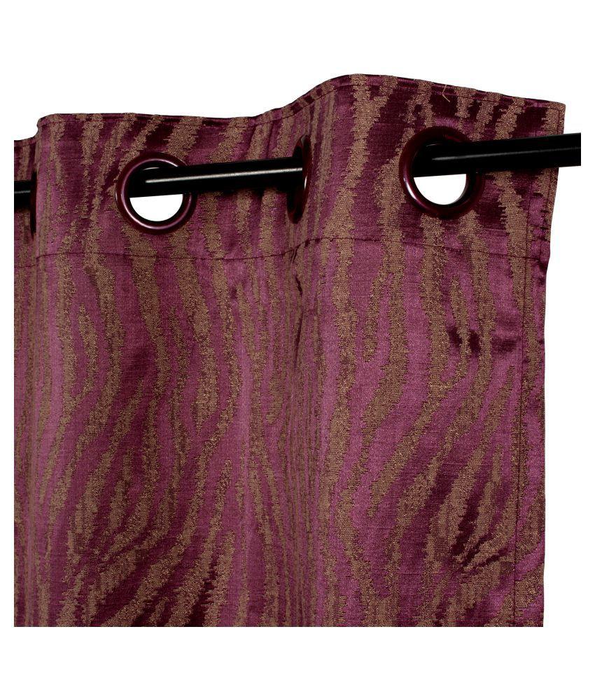 Story@Home Single Window Blackout Room Darkening Eyelet Jute Curtains Magenta