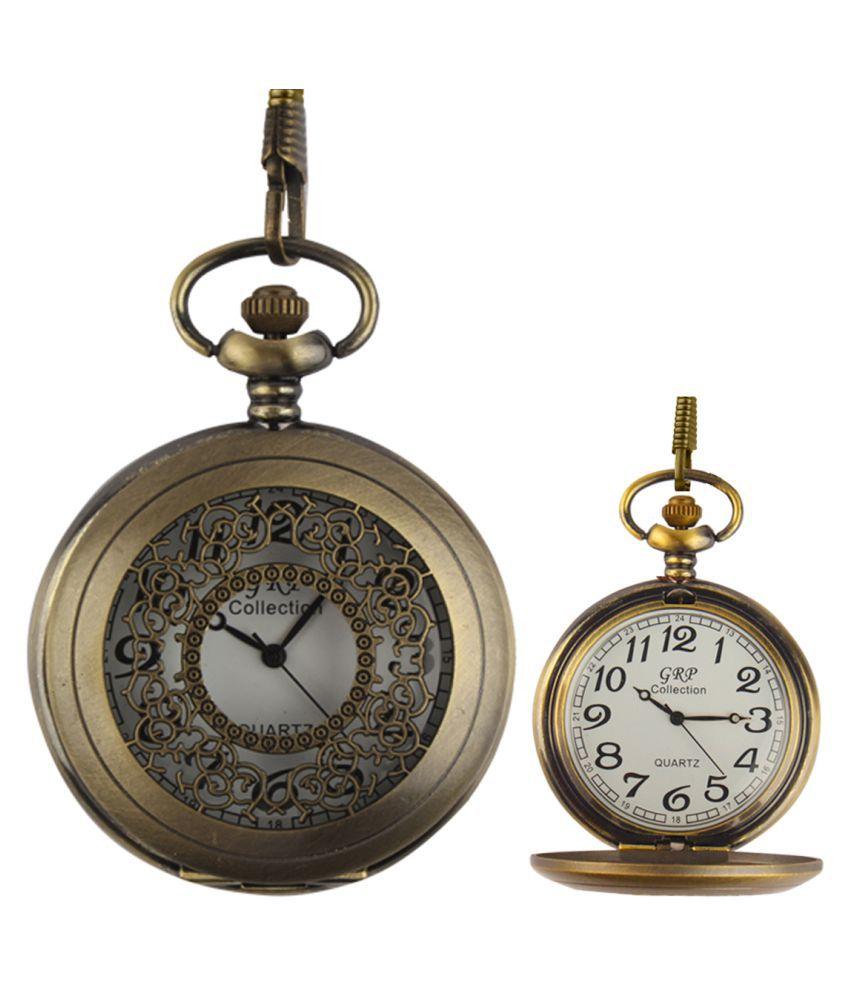 Dice Round Analog Pocket Watch Chain