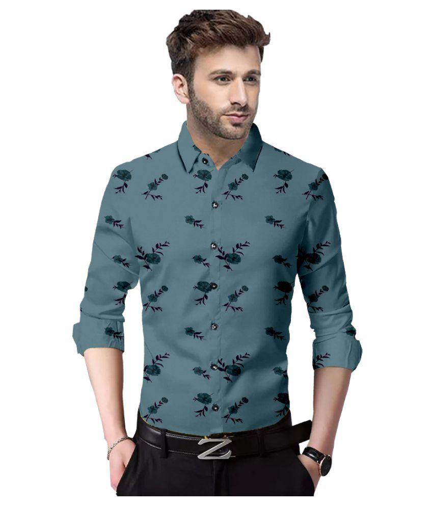 P&V 100 Percent Cotton Grey Prints Shirt