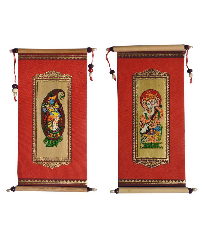 Village Kraft Handmade Paper, Palm Leaf and Cane Stick Red Gift Envelope, Party Festivals, Gifts, Shagun, Cash, Diwali, Wedding, Marriage, Envelope (17.78 x 8.89cm) (Pack of 50)
