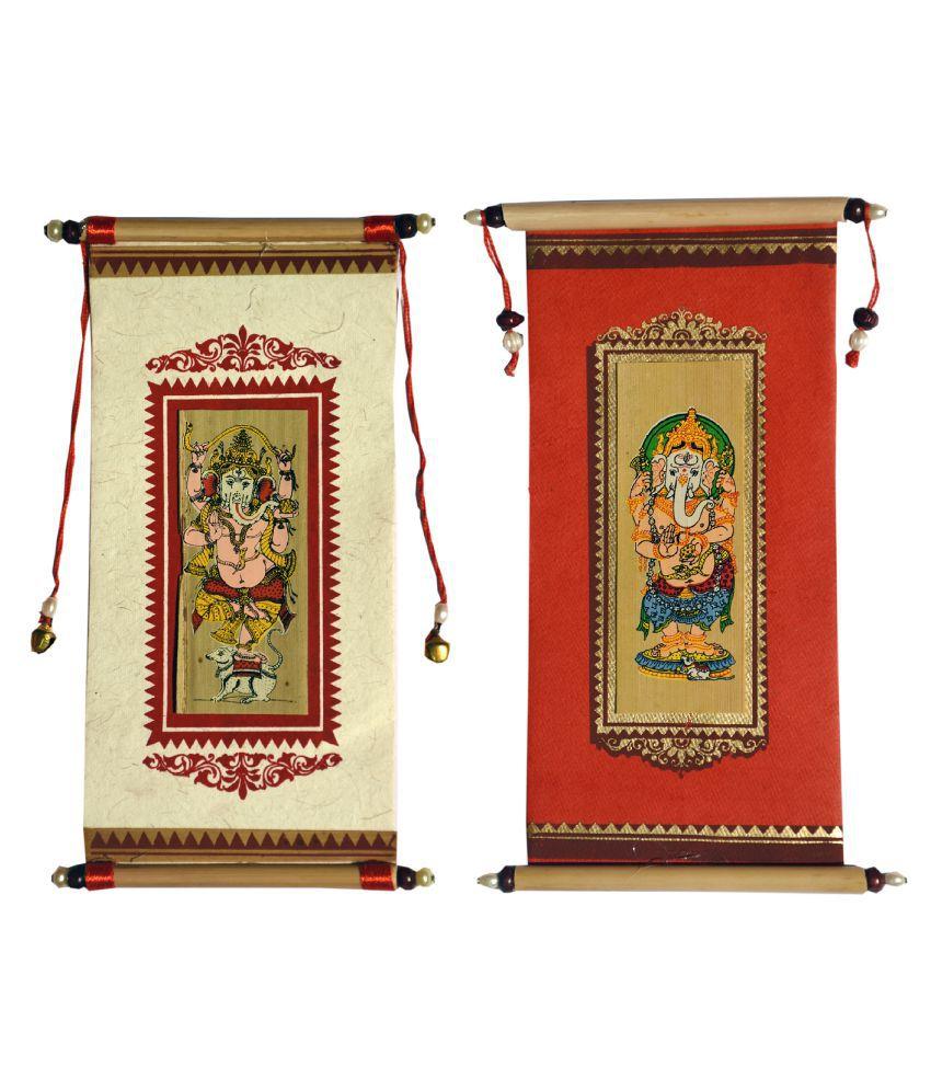 Village Kraft Handmade Paper, Palm Leaf and Cane Stick Red & White Gift Envelope, Party Festivals, Gifts, Shagun, Cash, Diwali, Wedding, Marriage, Envelope (17.78 x 8.89cm) (Pack of 50)
