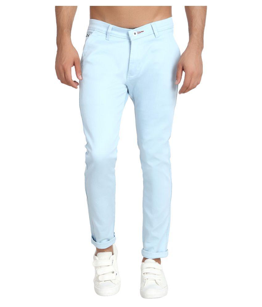 MIMP Light Blue Slim -Fit Flat Chinos