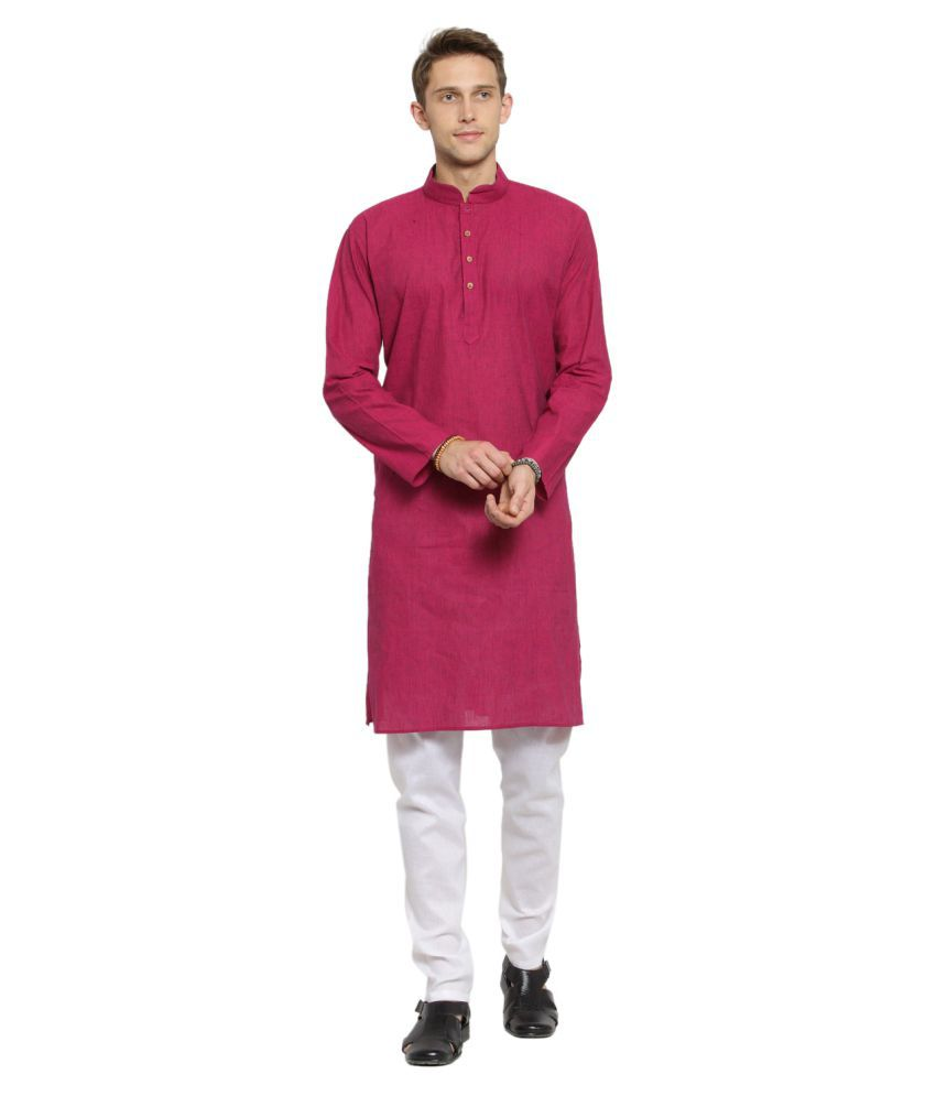 RG Designers Dark Pink Cotton Kurta Pyjama Set Pack of 1