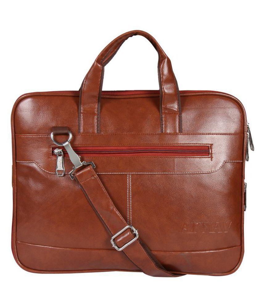 Apnav Sleek Exp3 Tan P.U. Office Bag