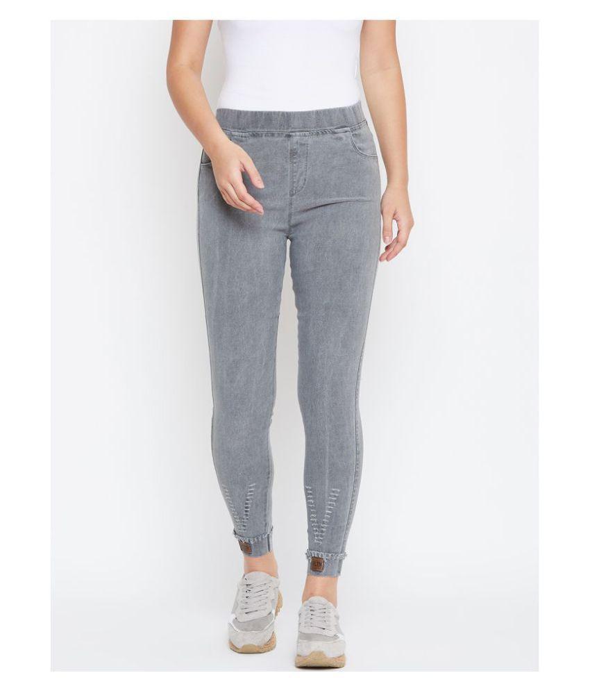 Camey Cotton Lycra Jeggings - Grey