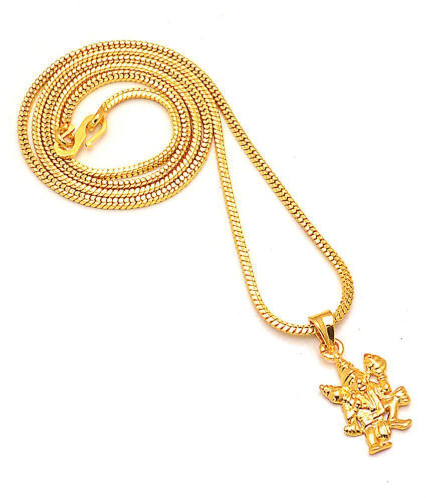 Jewar Mandi Lord Hanuman Ji  Golden Gold Plated Beautiful Pendant Jewelry for Men and Women 7615