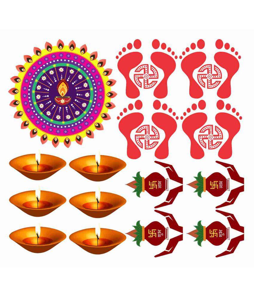 Decor Villa Happy Diwali combo  Festive Sticker ( 53 x 58 cms )
