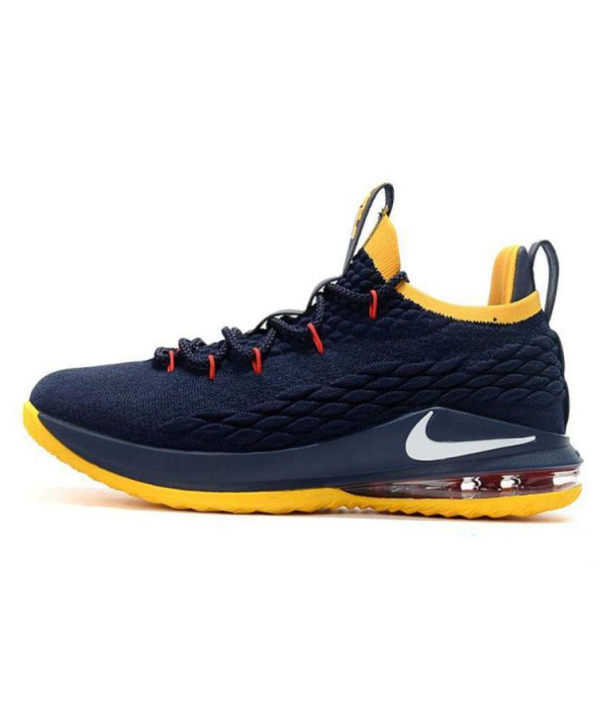 on sale a3761 19822 Nike 2018 LeBron 15 LTD Navy Blue Yellow Basketball Shoes