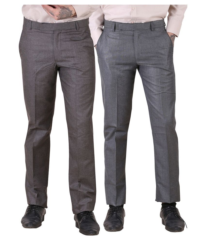 Regalior Multicolored Slim -Fit Flat Trousers