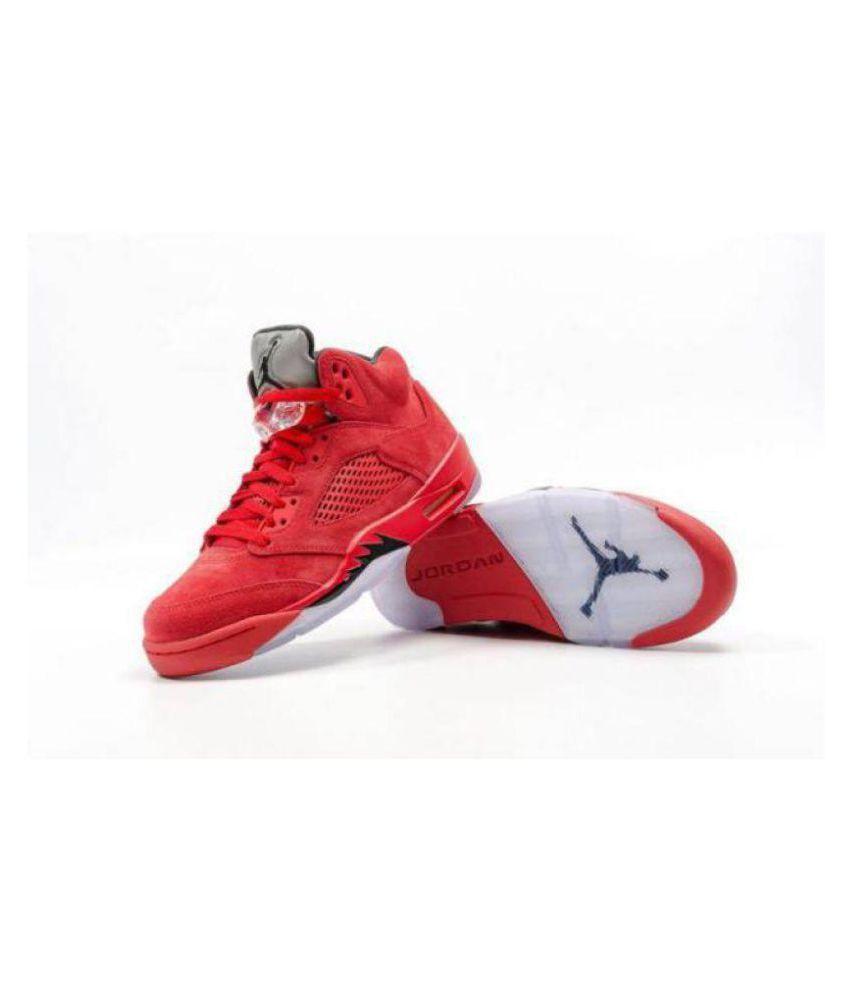 the best attitude ba832 0921d Nike AIR JORDAN RETRO 5 SUEDE Red Basketball Shoes